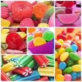 stock photo of jelly beans  - a collage of different kinds of candies - JPG