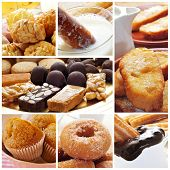 a collage of different spanish pastries, such as rosquillas, churros, panellets or turron
