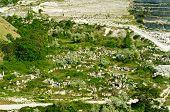 picture of feldspar  - Granite quarry with green hills in Crimea - JPG