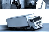 foto of semi-truck  - Several views of trucks on the same photograph - JPG