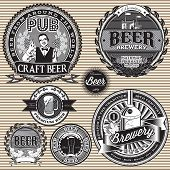 foto of bartender  - set vector retro icons to topic beer - JPG