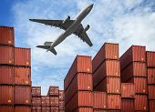 stock photo of lift truck  - industrial port with containers and air plain - JPG