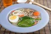 picture of duck egg blue  - Duck soup with rice pasta and vegetables - JPG