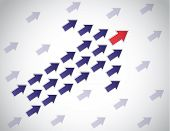stock photo of leader  - colorful arrow of arrows moving up lead by red arrow leading - JPG