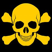 foto of skull cross bones  - Yellow skull and cross - JPG