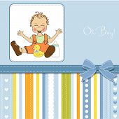 pic of baby duck  - baby boy playing with his duck toy welcome baby card - JPG