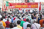 Lisbon, Portugal. October 01, 2011: Speech in the demonstration against IMF / austerity plan and for