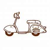 image of vespa  - Cute Hand Drawn Vector illustration - JPG