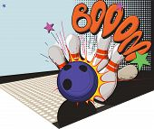 image of bowler  - Vintage picture made in comic style bowling ball and bowling pins - JPG