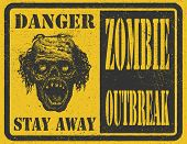 stock photo of scary face  - Poster Zombie Outbreak - JPG