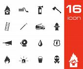 stock photo of ladder truck  - Vector black  firefighter icons set white background - JPG