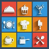 stock photo of ice-cake  - Set of 9 food vector web and mobile icons in flat design - JPG