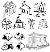 stock photo of interior sketch  - Sketch vector set of houses in doodle style - JPG