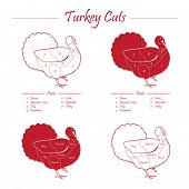 stock photo of giblets  - Turkey meat cut scheme in red and white style  - JPG