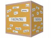 Yardwork 3D Cube Corkboard Word Concept poster