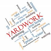 Yardwork Word Cloud Concept Angled poster