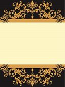 image of scrollwork  - Ornate vintage scrollwork label in gold cream and black with copy space frame - JPG