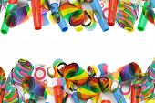 foto of superimpose  - Superimposed Party Blowers Border On White - JPG