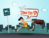picture of running-late  - a tourist in a hurry running to the airport - JPG