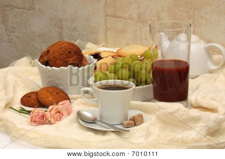 Healthy Breakfast: Coffee, Cane Sugar, Cherry Juice, Grapes And Oatmeal Cookies