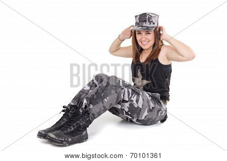 Happy young military patriotic proud girl
