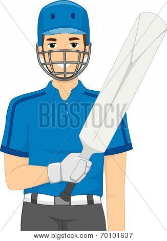 Illustration of a Man Dressed as a Cricket Batter