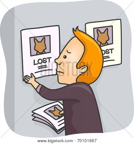 Illustration of a Man Posting Pictures of His Lost Pet