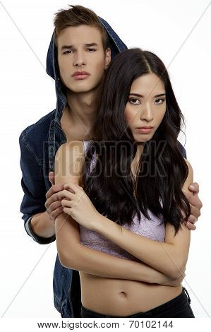 Shot Of A Passionate Young People In Love. Isolated Over White