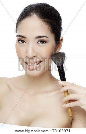 Beauty Makeup Asian Woman Smiling Closeup.
