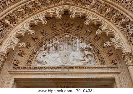 Tympanum Of Zagreb Cathedral (xviii C.). Croatia