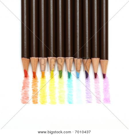 Rainbow Colored Drawing With Pencils Isolated On White