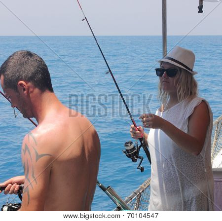 Tourists on a fishing trip