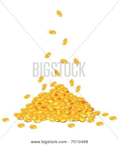Golden Coins Dropping Down On Pile