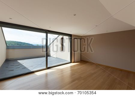Interior modern house, wide room with window
