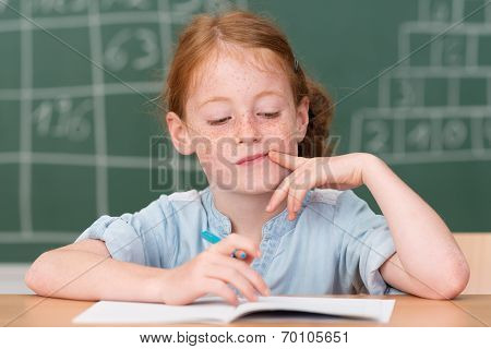 Cute Beautiful Little Girl In Class In School