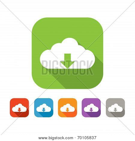 Color set of flat cloud upload icon