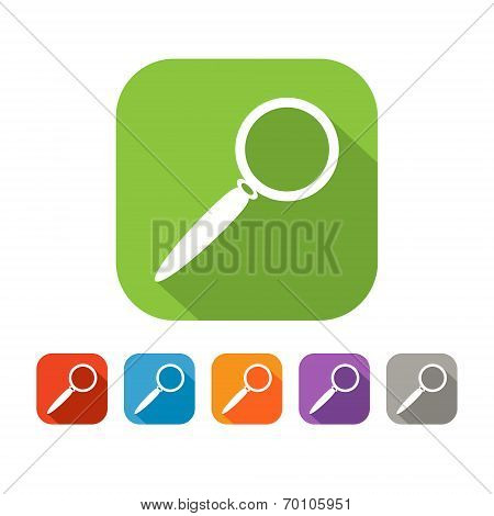 Color set of flat search icon