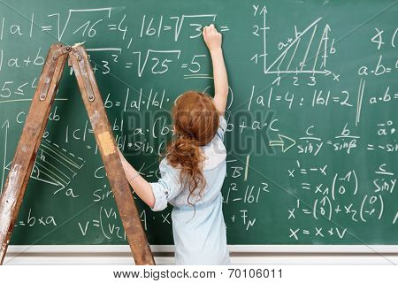 Little Girl Genius Working On A Maths Equation