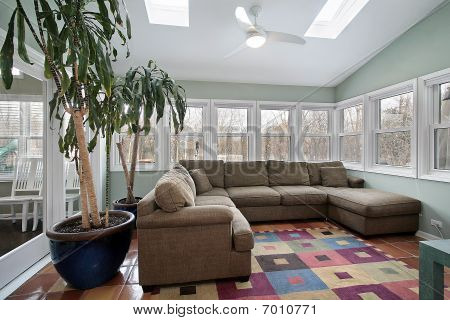 Sun Room With Wall Of Windows