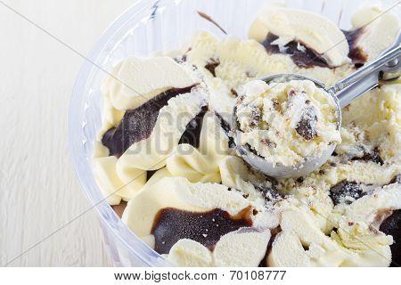 Vanilla with Chocolate Ice Cream Scoop