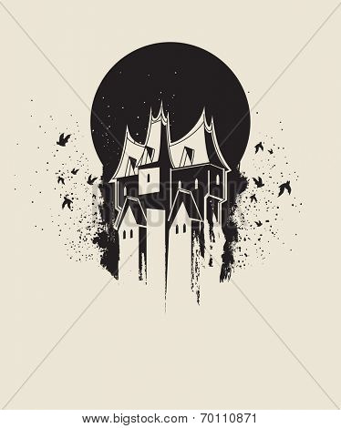 Dark gothic house against black moon
