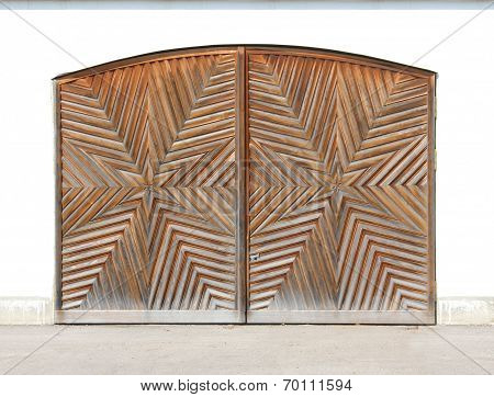 Wooden Garage Door With Star-shaped Carving