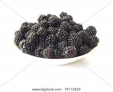 Plate Of Ripe Blackberries.