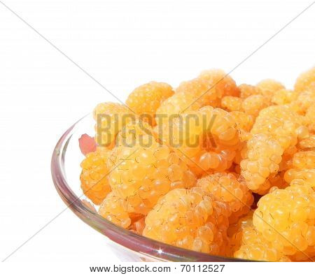 Plate Of Ripe Raspberries On A White Background.