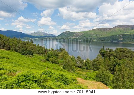 View across Derwent Water to Castlerigg Fell and Bleaberry Fell Lake District England UK