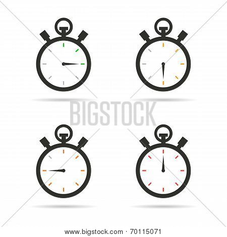 Stopwatch icons set