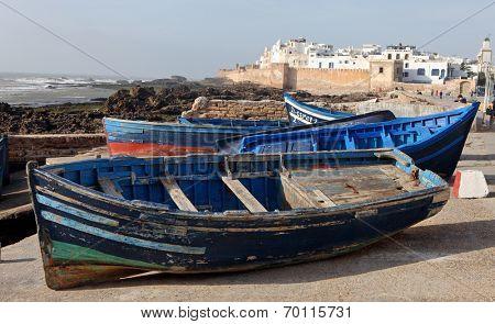 Blue boat in Essaouira, old Portuguese city in Morocco