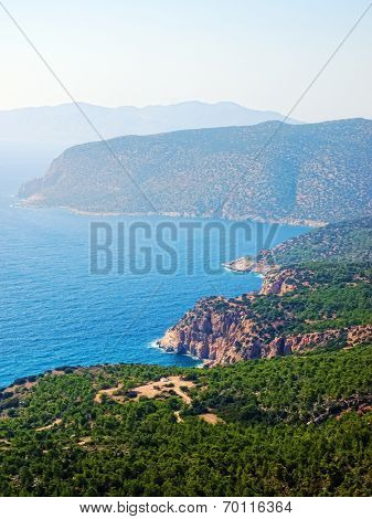 Rhodes coastline in sunny day, Greece.