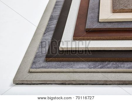 Samples of a ceramic tile