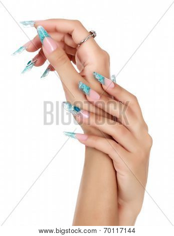 Female hand with long fingernails, white background, copyspace